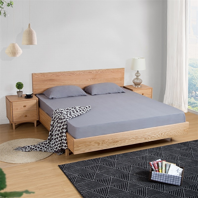 Japanese oak bed double solid wooden 1.5/1.8 meters of Scandinavian minimalist modern bedroom can be customized tatami