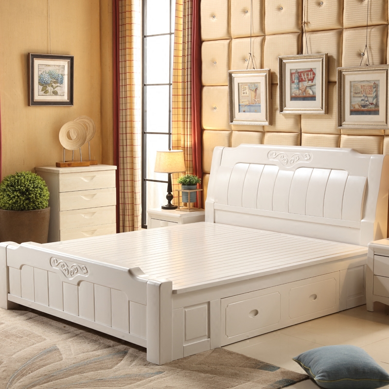 New Chinese style solid wood bed double bed, 1.5m1.8m single bed drawer, air pressure high box storage bed, oak bed wedding bed