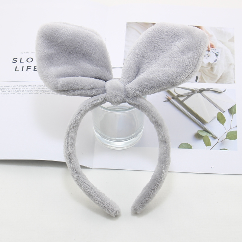 Cute rabbit ears headband Plush hairpin on the Korean version of the new super adorable face makeup mask headband hair accessories