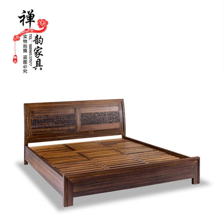 The new Chinese style furniture in modern Chinese style solid wood cloth bed model room villa bedroom Zen custom wood bed