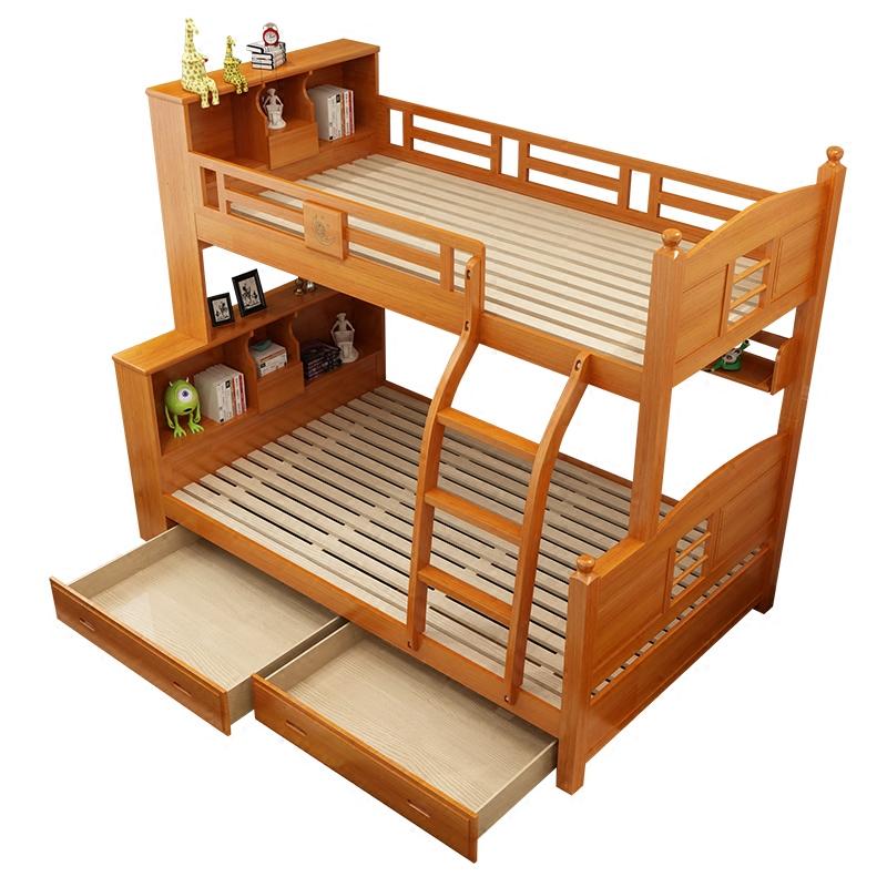 podwójne łóżko dla dzieci na balustradę z szuflady z litego drewna. drewniane ruchome lub łóżka piętrowe łóżka buk