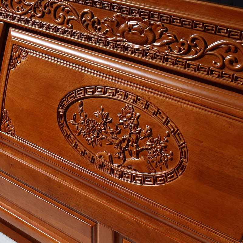 New Chinese oak bed, 1.8 meters double Antique Bed, carved mahogany bedroom furniture, Ming and Qing classical solid wood bed