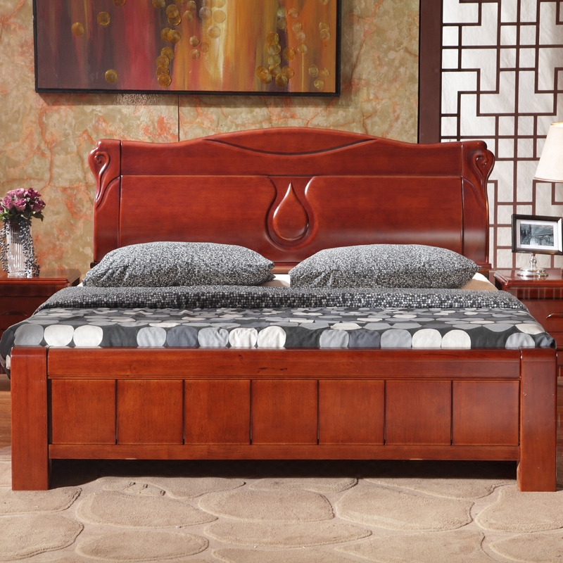 Solid wood bed, 1.5 meters, 1.8 meters, double oak beds, double pressure box frame, storage bed, air pressure, modern simple Chinese style