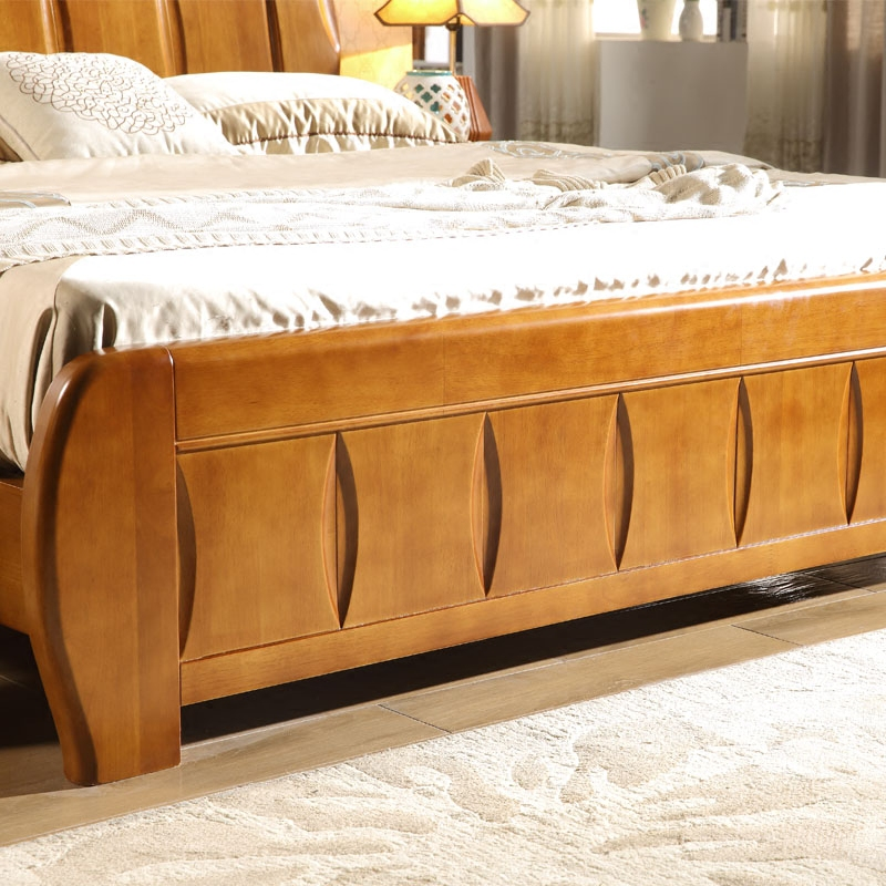 Solid wood bed, 1.8 oak beds, 1.5 meters, Mediterranean White high box storage bed, simple modern furniture double bed