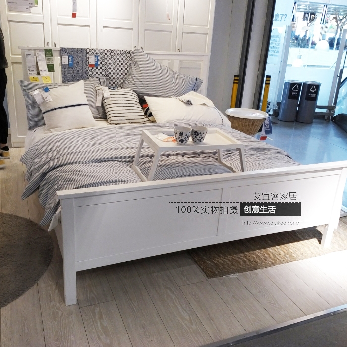 IKEA bed nice bed 1.5 meters 1.8 meters double bed solid wood two people bed, modern simple domestic purchasing