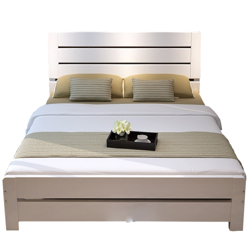 Simple wood double 1.8 meters 1.5 meters single pine bed couch bed children adult m American Princess Bed