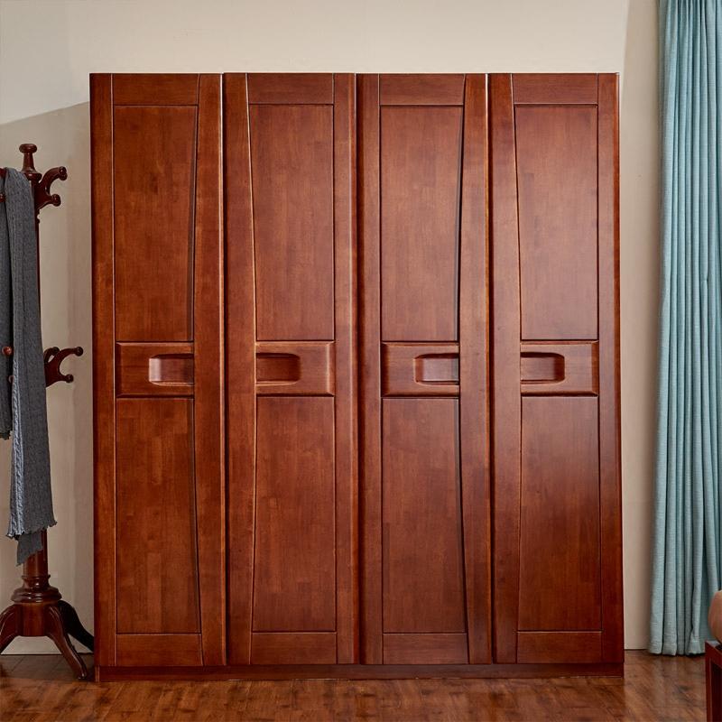 современный китайский весь деревянный шкаф настройки 4 дверь большой гардероб каучука, древесины в целом шкафчики мебель для спальни сборки