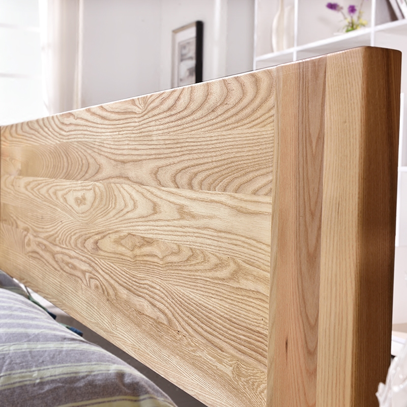 The whole wood bed 1.5/1.8 meters double bedroom modern minimalist economical wooden marriage bed ash