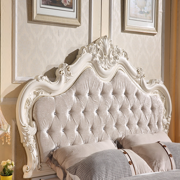 New European style double bed solid wood French princess bed, leather soft 1.5m/1.8 meters rural furniture