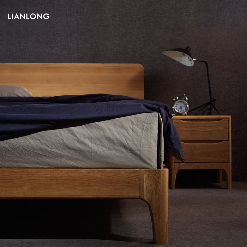 Nordic solid bed double bed 1.8 meters, modern minimalist master bedroom, 1.5 meters adult bed, oak socket bed, Japanese bed