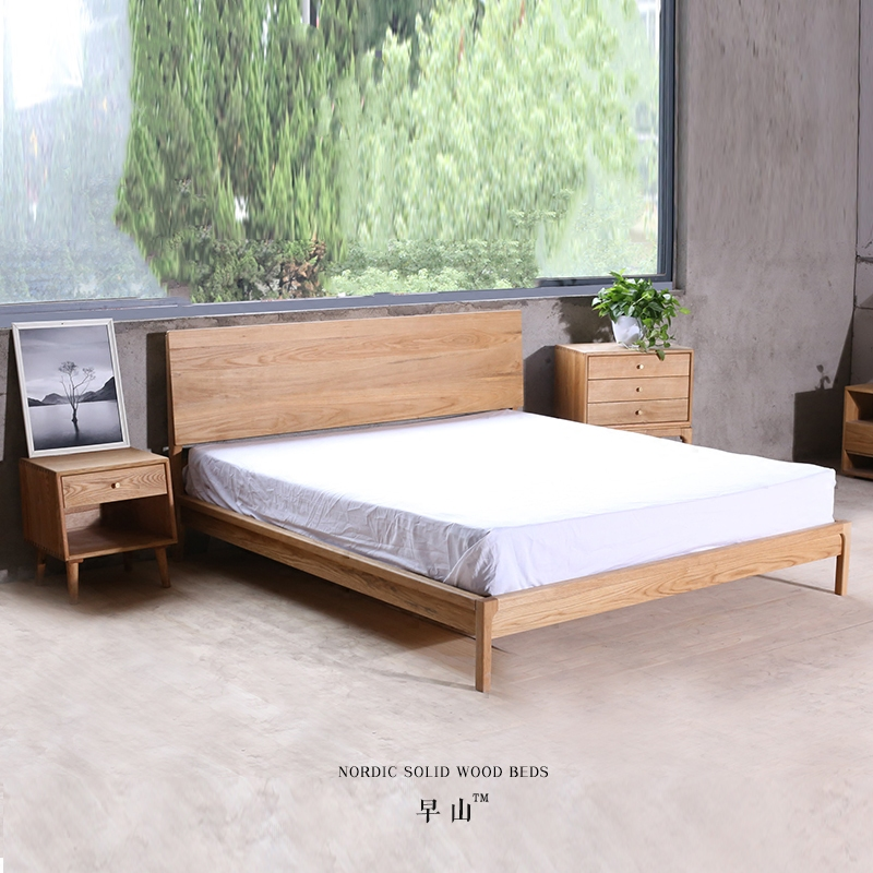 Solidwoodbed original Nordic waistline imported white oak wood bed double black walnut bed