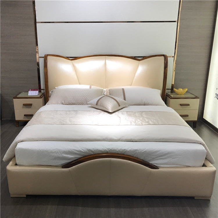 Champagne leather bed, new Chinese mahogany, soft leather art bed, simple modern small family, 1.8m bed, double marriage bed