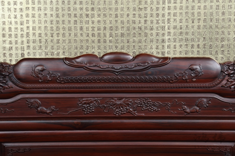 Hung Wei mahogany furniture mahogany mahogany bed South 1.8 meters double bed solid wooden box body with bedside cabinet
