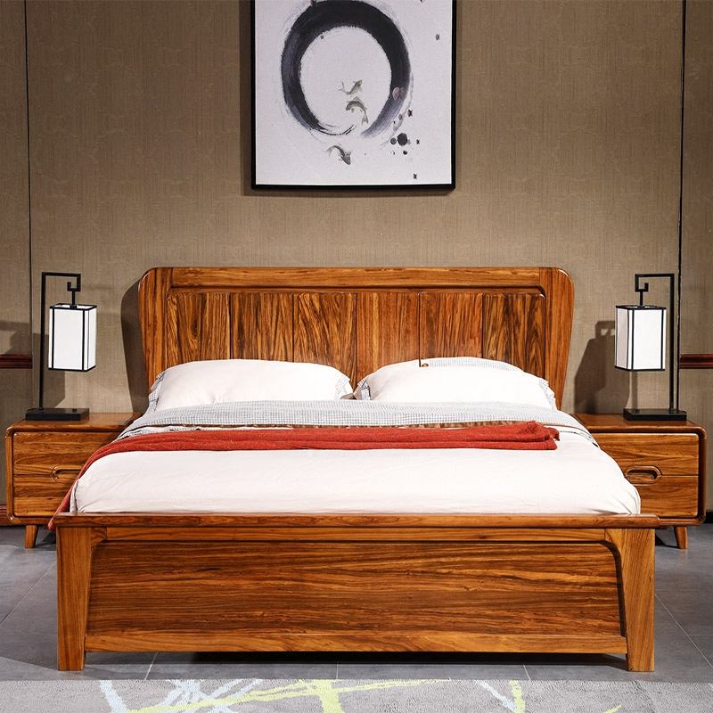 Holomorphic wood zingana wood 1.85 meters 1.5 meters high double box storage bed to bedside cabinets