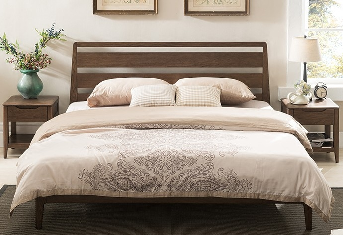 Japanese style bed soft oak double flexpack 1.51.8 meters of fabric of pure solid wood furniture backrest bed.