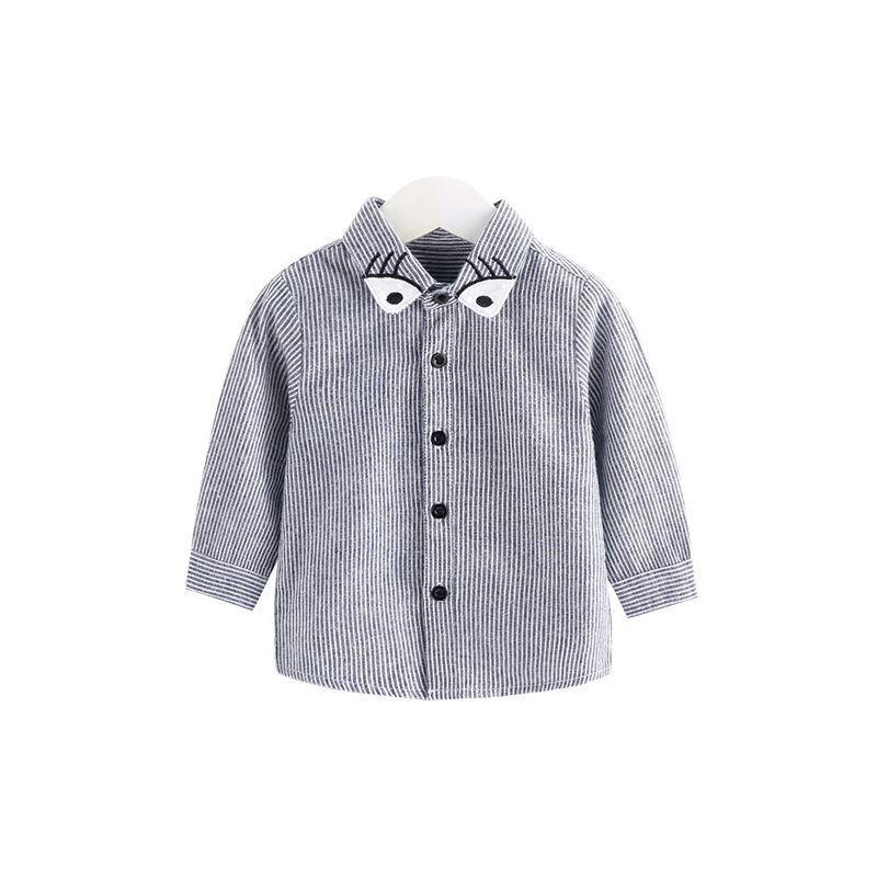 Small autumn month and babies'coat male baby shirt 2 1 years old to 3 year old striped long sleeved shirt