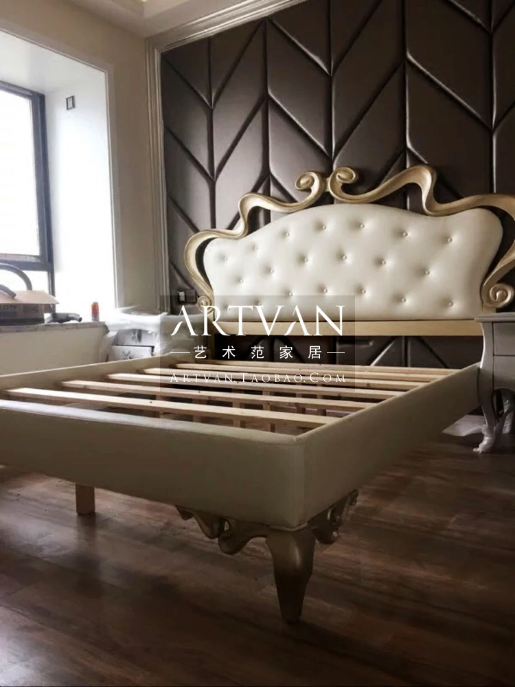 Hot soft bed personality beauty Jane Jane modern wood carved double master bedroom luxury Princess Wedding bed