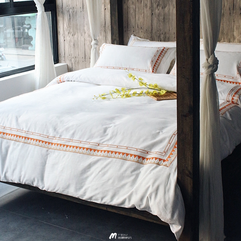 The new summer cotton embroidery simple geometric Tencel four piece of pure white Nordic hotel bedding wind