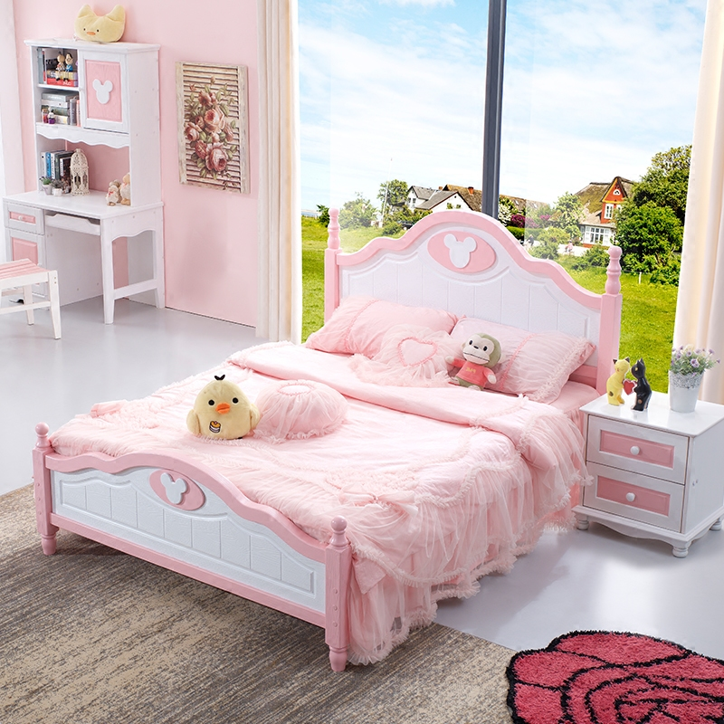 Children bed, girl bed, princess bed, 1.2 meter single bed, European style 1.5 meter youth bed, Mediterranean all solid wood bed