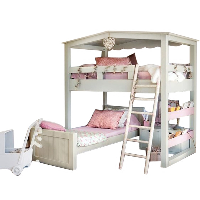 American double deck bed, Mediterranean children's high and low beds, solid wood upper and lower berth beds, rural children's bed with slide barrier bed