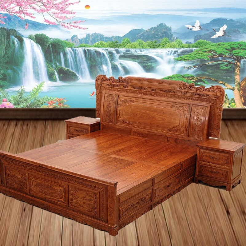 1 meters eight bed master bedroom simple modern new Chinese economy type bed shelf solid wood adult double bed block