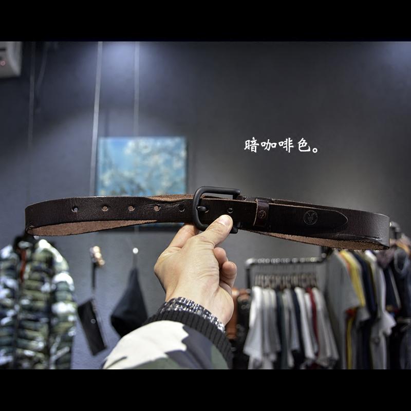 清货じゅう条オリジナルデザイン英倫牛革ベルト男子文芸復古ベルト软皮しわの幅は3 cm