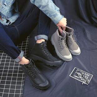 新款男鞋冬季高帮鞋男加绒保暖休闲鞋棉鞋韩版潮流鞋子防水马丁靴