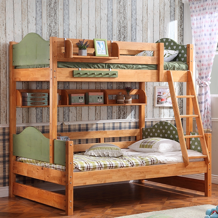 All solid wood bed guardrail children double ladder cabinet Tuochuang storage combination level of the mother bed bed