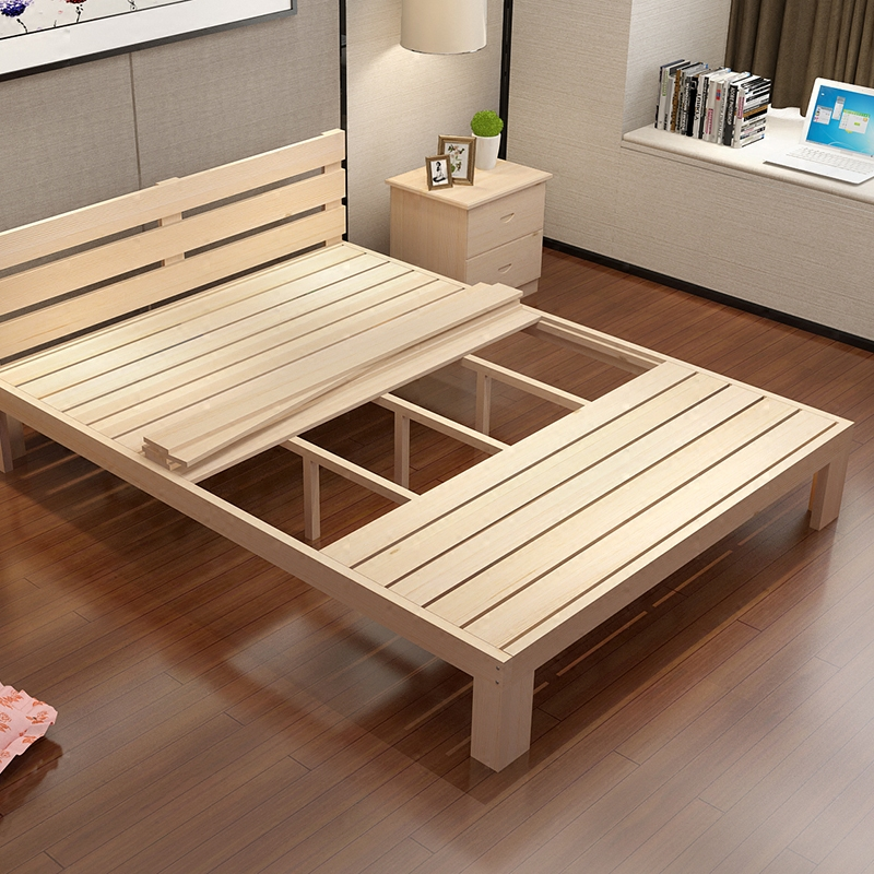 The new pine wood bed tatami bed single bed double bed adult bed can be customized 1.21.5 shipping bed