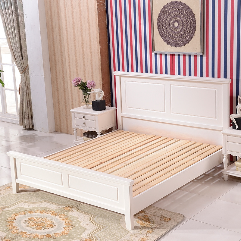 American classical bed, country solid wood bed, 1.8 meters double bed bedroom, master bedroom, marriage bed, high box storage bed