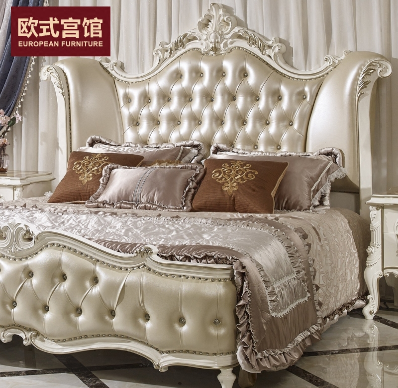 Jane wood marriage bed 1.8 meters double leather backpack by parcel post installation champagne gold pearl paint