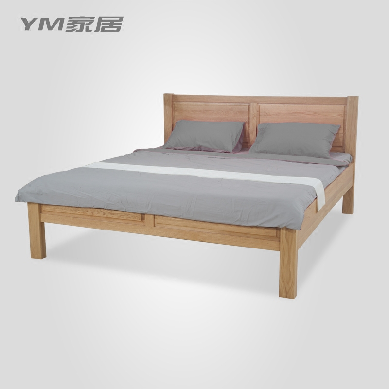 New Chinese double bed, simple modern white oak double bed, 1.51.8m master bedroom, economical bedroom furniture