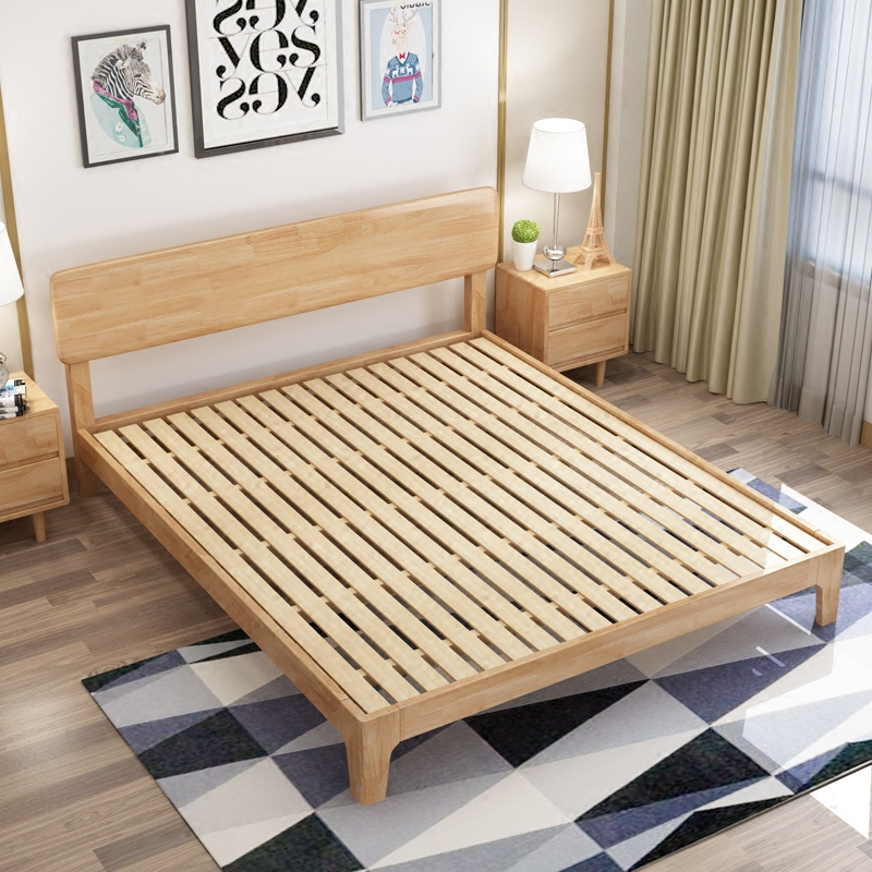 Simple Nordic modern simple 1.5/.1.8 meter type master bedroom, economical single and double storage, high box solid wood bed
