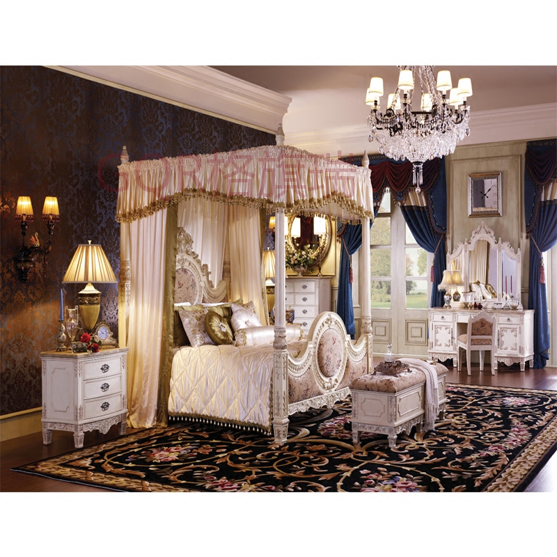 Villa luxury bedroom, custom made solid wood 1.8 meters bed, top grade cloth bed tail stool, double marriage adult bedside cabinet