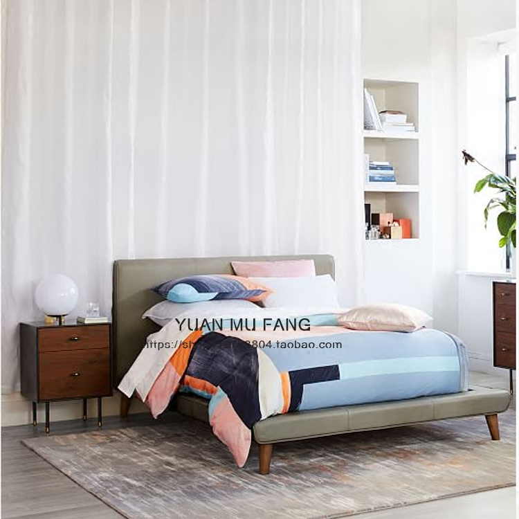 The Nordic minimalist leather 1.8 meters double bed double bed 1.5m soft soft cloth large-sized apartment bed