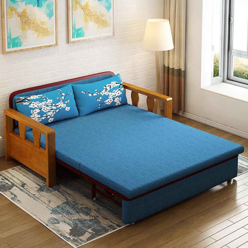 IL divano letto di Legno di Lattice di 1,2 metri di 1,5 metri di tessuto doppio scopo multifunzionale può piegare le PICCOLE dimensioni del soggiorno