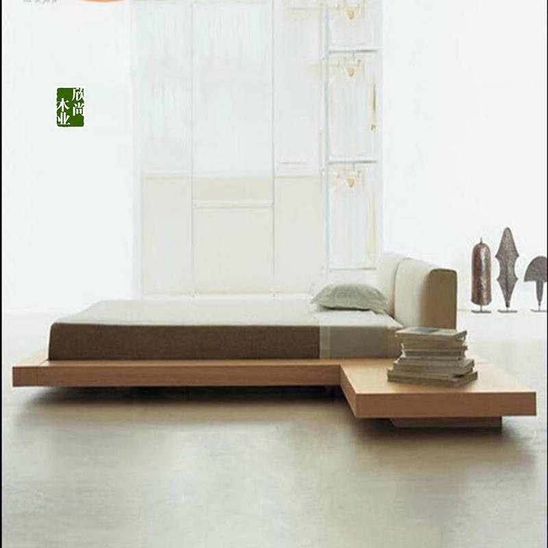 The custom of modern minimalist Japanese Nordic wood 1.8 soft tatami bed double bed backrest bed short bed platform bed