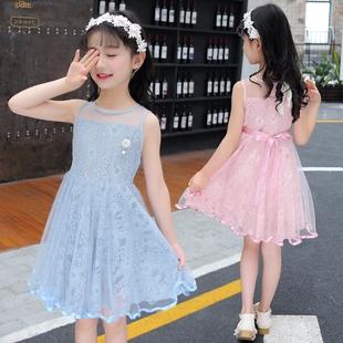 女童夏装连衣裙2018新款童装中大儿童夏季洋气裙子蕾丝公主裙韩版
