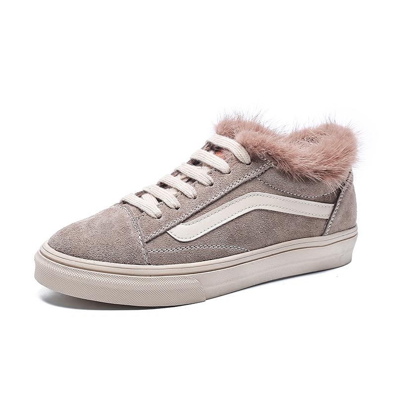 Mink plysch skor casual skor kvinnor vinter plus sammet varm bomull skor elever platta skor vilda läder svarta skor