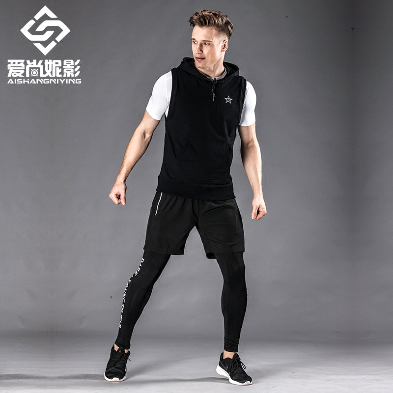 Fitness suits, men's suits, three or four sets of sports short sleeved, fast dry basketball tights, spring and summer running clothes, gym