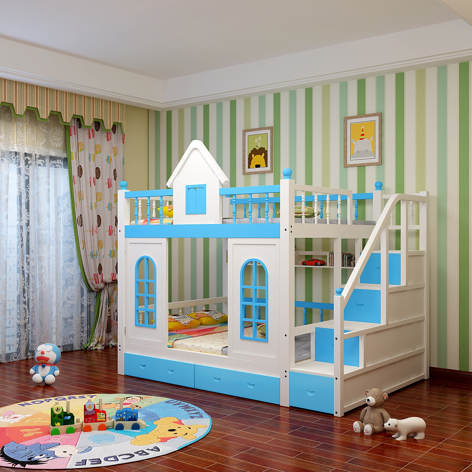 The children bed wood bunk bed double bed STRATONS mother Princess Bed multifunctional desk with ladder cabinet slide bed