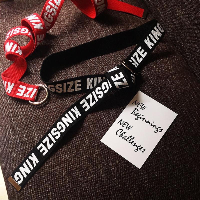韓国KINGSIZE英字プリントズックベルトは男女共通編みベルトダブルベルト潮