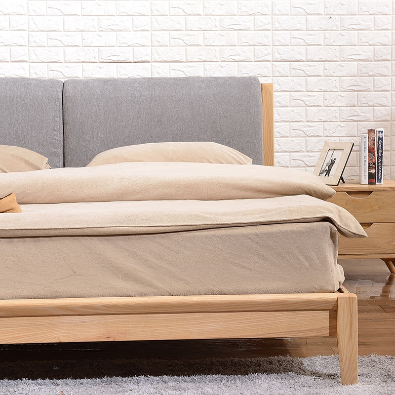 The Nordic minimalist modern timber bed ash double soft bed green wood wax bedroom furniture