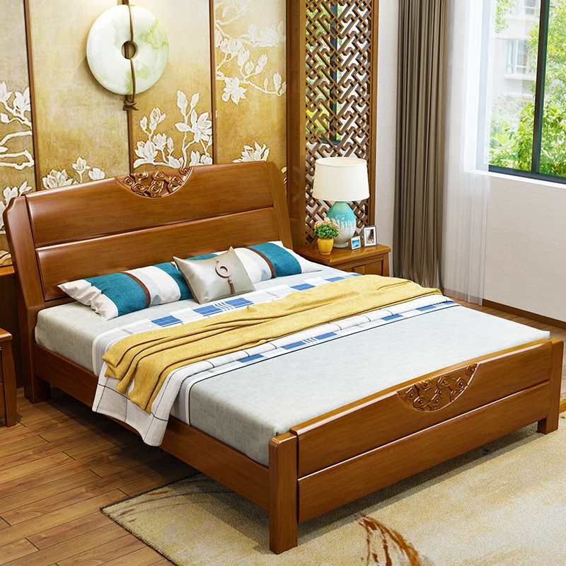 Royal Coleman wood bed double bed storage box 1.5 simple modern Chinese oak high 1.8 meters bed bedroom
