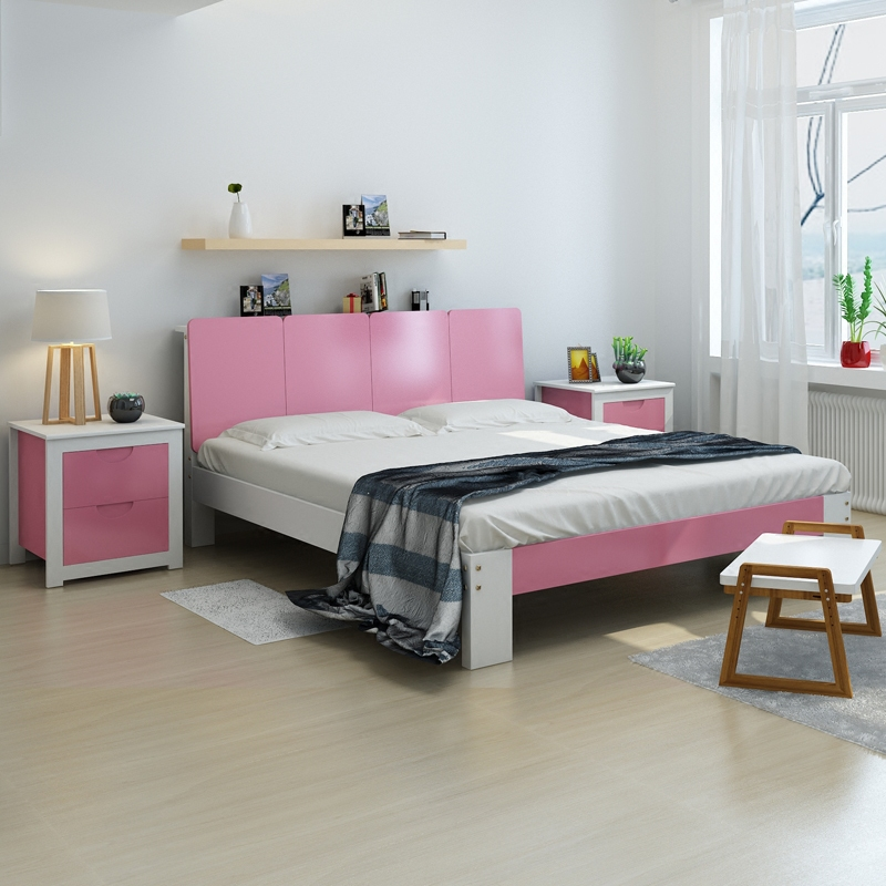 The bed is 2 meters 2.2 double Zhuwo 1.8 solid wood beds 1.5 modern simple hard beds rental tatami