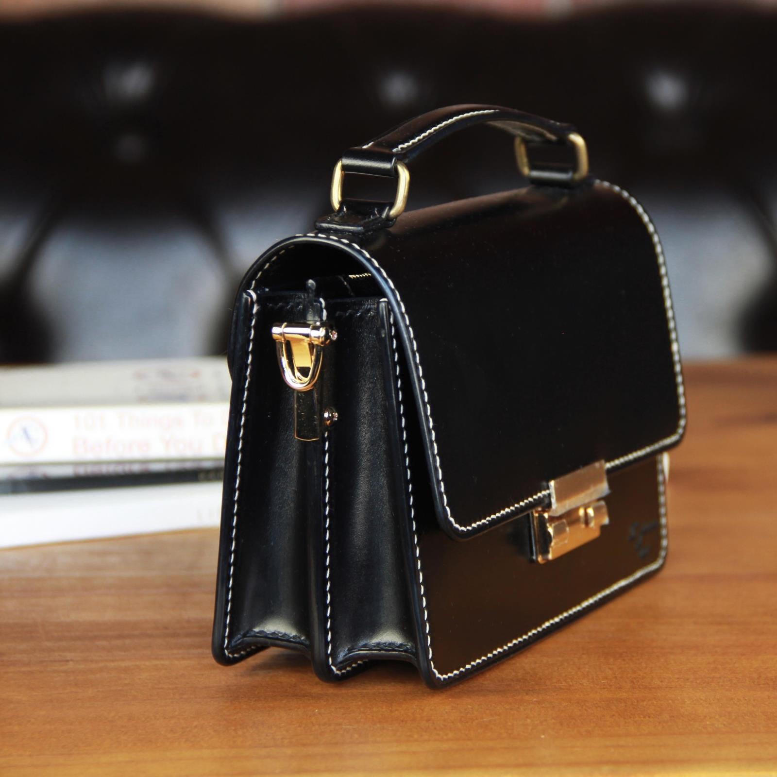 1923手工皮具定制 真皮鏈條鎖扣女隨身小方包 百搭手提單肩斜跨包