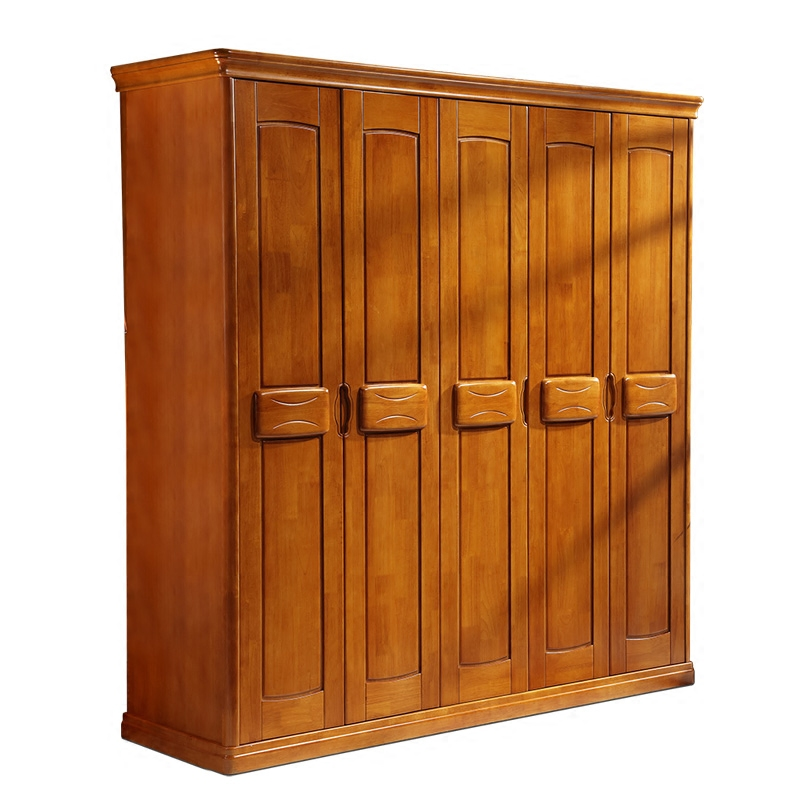 Modern Chinese style solid wood wardrobe door 5 door to door assembling five or six whole wardrobe master bedroom furniture