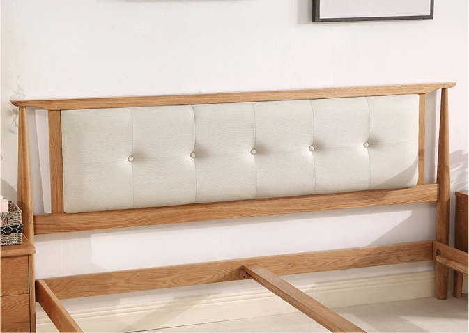 Nordic all solid wood bed, 1.8m double bed, 1.5 meter bedroom, wedding bed, oak bed, simple modern bed