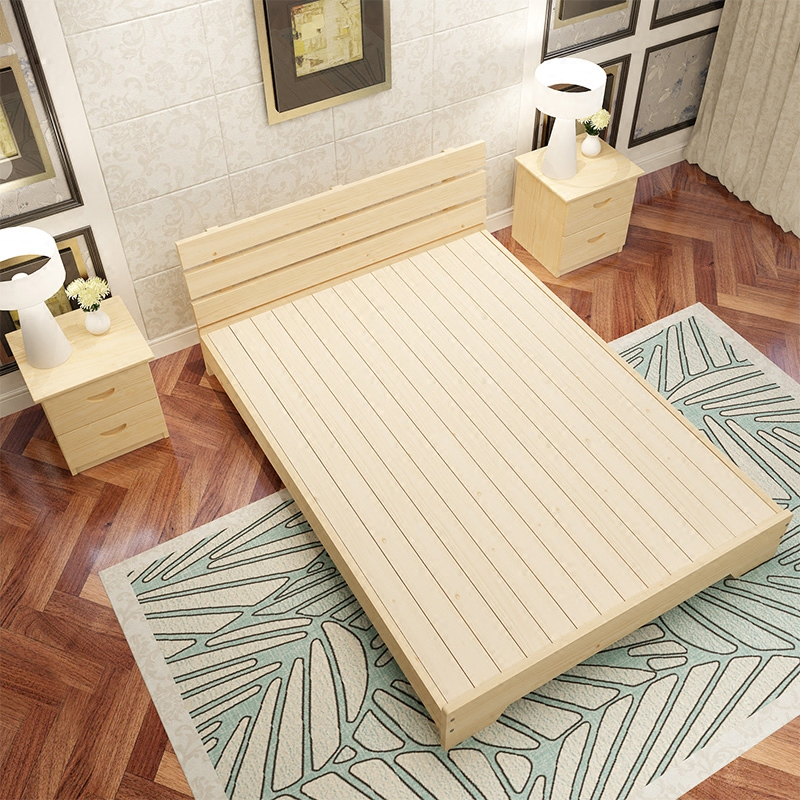 Children's bed is simple, modern solid wood bed, pine double bed, single bed, domestic new log, 1.8 meters economy