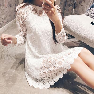 西西小可*2016秋装新款韩版短裙女圆领长袖蕾丝镂空两件套连衣裙